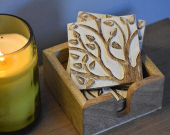 Tree of Life Coasters (Set of 6) - Coasters - Fair Trade - Wood Coasters - Drinkware - Kitchen - Dining - Handcarved Coasters