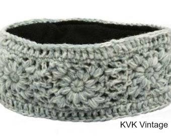 Blue & White Hand Knit Wool Headband - Headband - Wool Headband - Hand Knit Headband