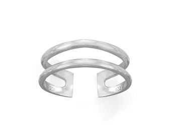 Sterling Silver Double Band Toe Ring - Bohemian Toe Ring - Adjustable Toe Rings - Body Jewelry