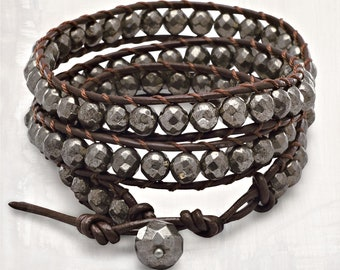 Pyrite & Leather Wrap Bracelet -  Pyrite Bracelets - Leather Bracelets - Bead Bracelets - Wrap Bracelets - Woven Bracelets - Bohemian