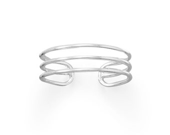 3 Band Wide Sterling Silver Toe Ring - Toe Rings - Adjustable Toe Rings - Body Jewelry