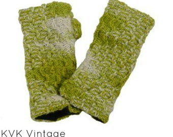 Green Wool Knit Hand-warmers - Hand-warmers - Knit Mittens - Finger-less Gloves - Knit Gloves - Wool Gloves - Wool Mittens