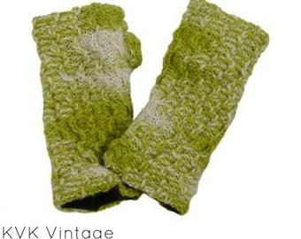 Green Mix Hand Knitted Handwarmer - Fair Trade - Arm Warmers - Fingerless Gloves