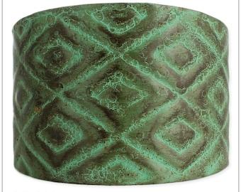Antique Green Patina Diamond Cuff Bracelet -  Cuff Bracelets - Bracelets - Jewelry -  Bohemian Bracelet -  Wide Cuff - Hippie Cuff