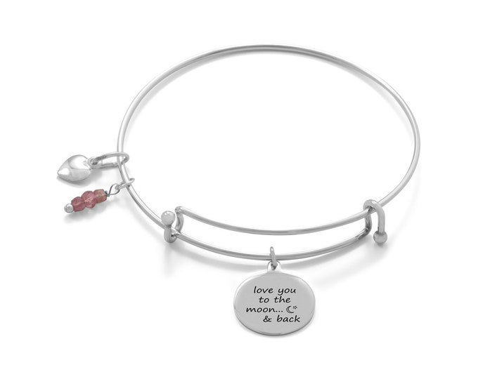 Featured listing image: Love You To The Moon And Back Bangle - Heart Bracelet - Heart Charm - Valentines Day Jewelry