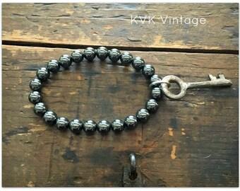 Hematite Vintage Key Bracelet - Key Bracelets - Beaded Key Bracelets - Old Key Bracelet