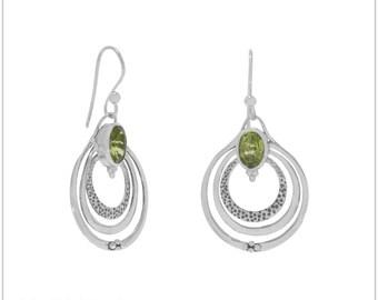 Oxidized Triple Circle with Peridot Earrings -  Peridot Earrings - Peridot Jewelry - Peridot Post Earrings - August Birthstone