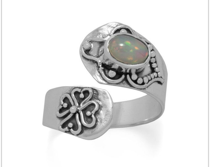 Featured listing image: Oxidized Ethiopian Opal Wrap Ring - Wrap Ring - Opal Ring - Sterling Silver Ring