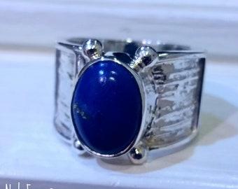 Cabochon Lapis Lazuli Ring - Artisan Ring - Gemstone Ring - Stone Ring - Lapis Ring