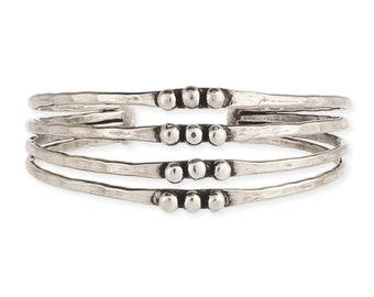Silver Hammered Dot Cuff Bracelet - Bohemian Bracelets - Thin Cuffs - Cuff Bracelets