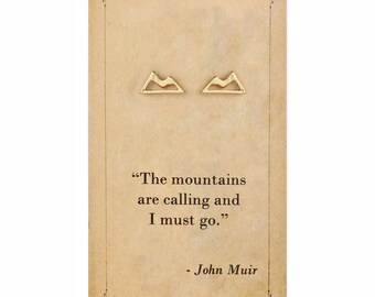 Literary Quote Mountain Post Earrings - John Muir Quote - Book Earrings - Bookworm Earrings - Stud Earrings - Literary Jewelry