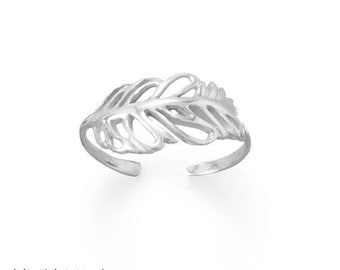 Feather Sterling Silver Toe Ring - Toe Rings - Adjustable Toe Rings - Body Jewelry