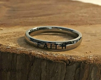 "Stainless Steel ""FAITH"" Band Ring - 3mm Rings - Inspiring Rings - Stamped Rings"
