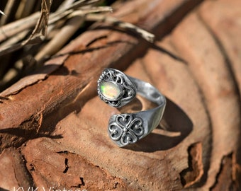 Ethiopian Oxidized Opal Wrap Ring - Sterling Spoon Rings - Wrap Rings - Bohemian Jewelry