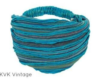 Turquoise Stripe Headband - BOHO Headband - Hippie Headband - Wide Headband - Hair - Accessories - Fair Trade