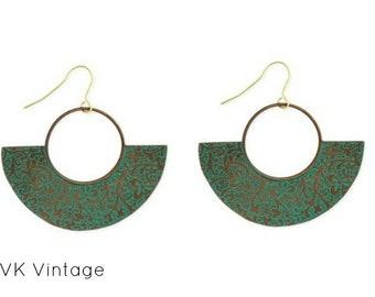 Floral Embossed Patina Fan Earring - Boho Jewelry - Boho Earrings - Bohemian Jewelry - Green Patina Earrings - Patina Earring - Fan Earrings