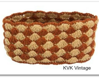Tan & Rust Checked  Wool Headband - Knit Headbands - Hand Knit Headband - Fair Trade