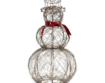 Red Scarf Snowman - Home Décor - Snowman Wire Sculpture - Fair Trade