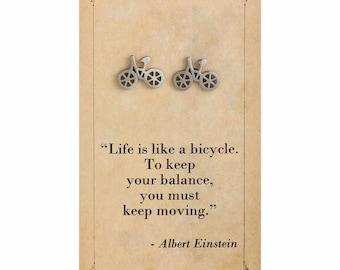 Literary Quote Bicycle Post Earrings - Albert Einstein Quote - Book Earrings - Bookworm Earrings - Stud Earrings - Literary Jewelry