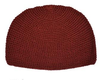 Maroon Kufi Skull Cap - Crocheted Beanie Hat - Fair Trade