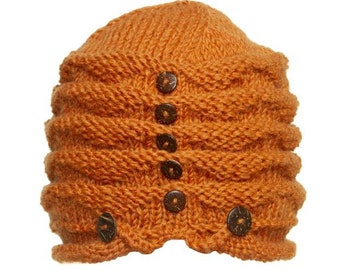 Acorn Wool Hand Knit Cap With Buttons - Knit Hats - Hats - Wool Hats - Wool Caps - Fall Hats - Winter Hats -  Skull Caps - Beanies