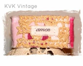 Fabric Cuff Bracelet - AMEN - Boho Jewelry - Boho Bracelet - Hippie Jewelry - Fabric Bracelet - Inspiring Bracelet