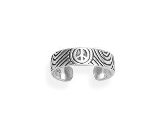 Peace Sign Sterling Silver Toe Ring - Toe Rings - Adjustable Toe Rings - Body Jewelry