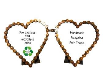 Bike Chain Double Heart Picture Frame - Industrial Décor - Bike Chain Frames - Fair Trade - Home Decor