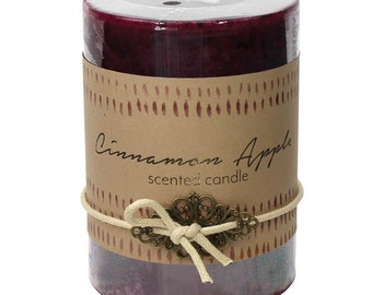 Cinnamon Apple Pillar Candle -  Candle - Scented Candle -  Home Decor - Candles - Holders - Home Accessories