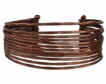 Bronze Metal Hammered Cuff Bracelet - Bohemian Bracelets - Wide Cuffs - Cuff Bracelets