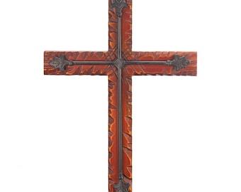 Wood and Iron Wall Cross - Cross - Crosses - Religious Home Decor - Spirituality - Religion - Home Decor - Crucifixes