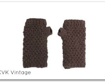 Brown Wool Knit Hand-warmers - Hand-warmers - Hand Knit - Gloves - Finger-less Gloves -  Accessories