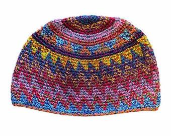Zig Zag Multi Color Kufi Skull Cap - Crocheted Beanie Hat - Fair Trade