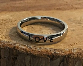 """Stainless Steel """"LOVE"""" Band Ring - 4mm Rings - Inspirational Rings - Stamped Rings - Inspiring Jewelry"""
