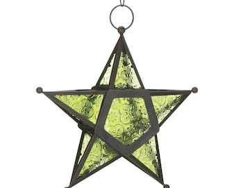 Green Glass Star Lantern - Lighting - Lanterns - Lantern - Home & Living - Home Decor - Home Accessories