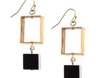 Dark Polished Square Brass Earrings - Dangle Earrings - Horn Earrings - Fair Trade Jewelry