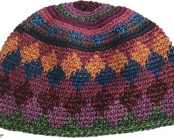 Rainbow Speckled Kufi Skull Cap - Crocheted Beanie Hat - Fair Trade