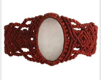 Red Woven & Rose Quartz Cuff Bracelet - Boho Bracelets - Macramé Cuff Bracelets - Bohemian Jewelry