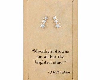 Literary Quote Star Post Earrings - J.R.R Tolkien Quote - Book Earrings - Bookworm Earrings - Stud Earrings - Literary Jewelry