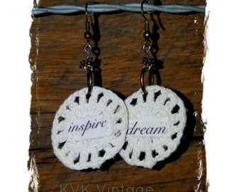 INSPIRE & DREAM Crochet Bohemian Earrings - Fabric Earrings - Word Earrings - Hippie Earrings