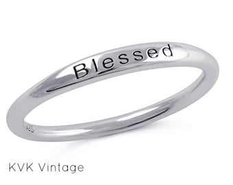 """Sterling Silver """"BLESSED"""" Ring - Band Ring - Blessed Ring - Word Ring - 1.5mm Sterling Silver Ring - Stamped  Ring - Inspiring Ring"""