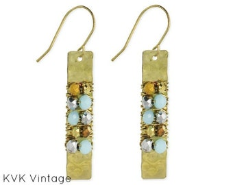 Wire Wrapped Gold Bar Beaded Earrings - Wire Wrapped Earrings - Hammered Earrings - Bohemian Earrings