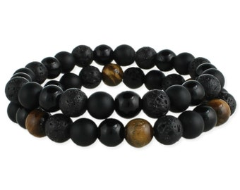 Tigers Eye and Black Bead Men's Stretch Bracelets - Men's Tiger Eye Bracelet - Men's Bead Bracelet - Men's BOHO Bracelet  - Lava Stone