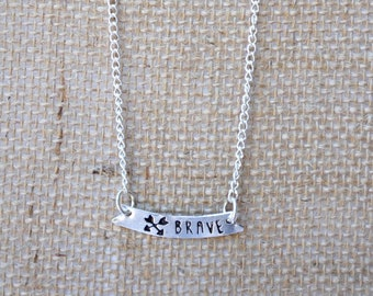 BRAVE Silver Stamped Necklace - Pendants - Necklaces - Hand Stamped Pendants - Word Jewelry - Necklaces - Fair Trade Jewelry