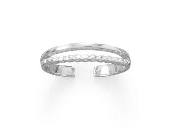 Sterling Silver Beaded Band Toe Ring - Toe Rings - Adjustable Toe Rings - Body Jewelry