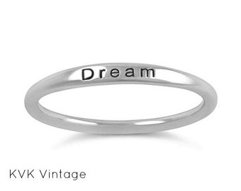 """Sterling Silver """"DREAM"""" Ring - Band Ring - Dream Ring - Word Ring - 1.5mm Sterling Silver Ring - Stamped  Ring - Inspiring Ring"""