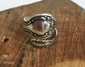 Oxidized Design Spoon Ring - Sterling Spoon Rings - Spoon Jewelry