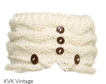 Off White Wool Headband With Buttons -  Knit Headbands - Hand Knit Headband - Fair Trade