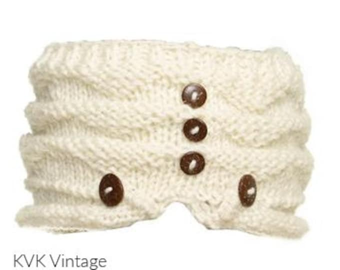 Featured listing image: Off White Wool Hand Knit Cap With Buttons - Knit Hats - Hats - Wool Hats - Wool Caps - Fall Hats - Winter Hats -  Skull Caps - Beanies