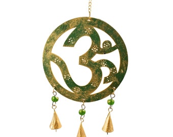 Om Chime - Wind Chimes - Chimes - Recycled Metal - Garden Decoration - Fair Trade -  Home Decor - Om Metal Chime - Fair Trade Chime